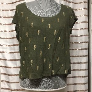 Dark Green Crop Top with Golden Seahorse print